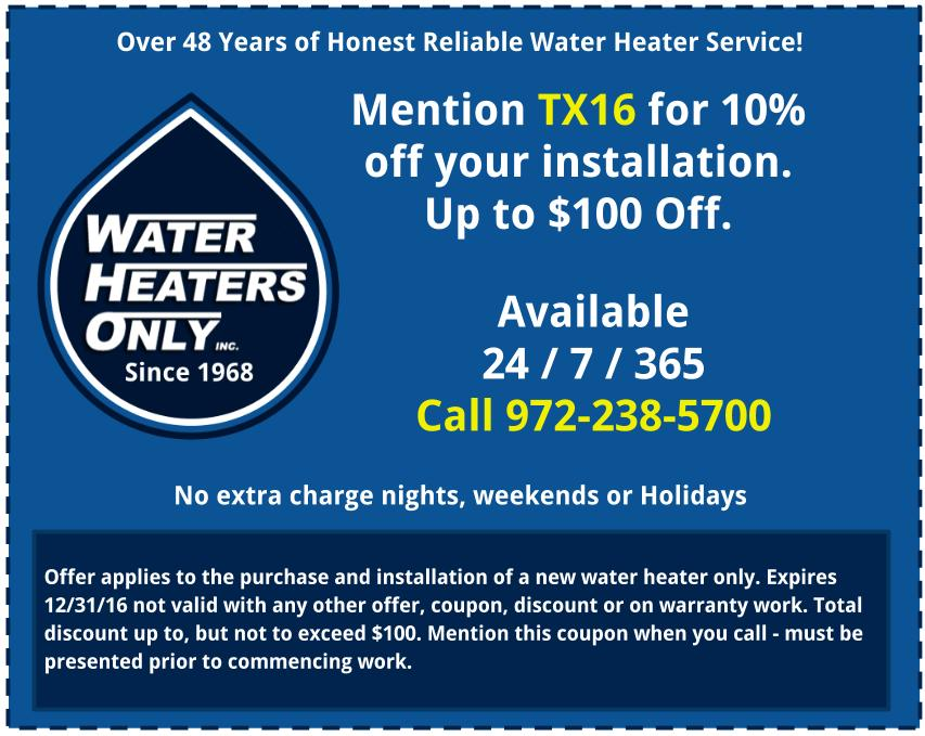 Dallas Water Heater Coupon 2016